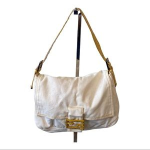 vintage Fendi white denim baguette bag snake strap